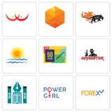 Set Of 9 simple  icons such as, girl power, educational institute. Set Of 9 simple  icons such as girl power, educational institute, gangster, 50 years Stock Photo