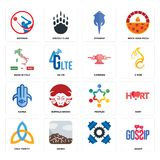Set of gossip, , holy trinity, peoples, hamsa, catering, made in italy, stingray, batsman icons. Set Of 16 simple  icons such as gossip, , sierra, holy trinity Royalty Free Stock Photo