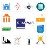 Set of grammar, shotgun, sprinkler, dab, hiker, specification, adaptability, set top box, bank branch icons. Set Of 13 simple  icons such as grammar, shotgun Royalty Free Stock Images