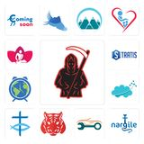 Set of grim reaper, nargile, auto body repair, tiger, christian fish, nervous system, earth hour, stratis, massage therapist icons. Set Of 13 simple  icons such Stock Photo