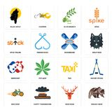 Set of grizzly bear, deer head, bike shop, taxi, democrat, snowboard, stick figure, olive branch, black wolf icons. Set Of 16 simple  icons such as grizzly bear Royalty Free Stock Photo