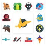 Set of gryphon, travel, hair dresser, jz, fishing team, qf, free bear, eshop, 2 years warranty icons. Set Of 13 simple  icons such as gryphon, travel, hair Royalty Free Stock Image