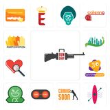 Set of gun shop, kayak, soon, convert, pharmacy, 3rd anniversary, cholesterol, future city, participation icons. Set Of 13 simple  icons such as gun shop, kayak Royalty Free Stock Photo
