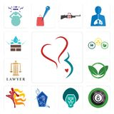 Set of gynecology, 8 ball pool, baboon, neptune, muay thai, eco club, lawyer, commodities, water resistant icons. Set Of 13 simple  icons such as gynecology, 8 Royalty Free Stock Photography