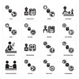 Set of Hairdresser, Mechanic, human resources, Singer, Businessman, Welder, Chef, Miner, Pilot icons. Set Of 16 simple  icons such as Hairdresser, Mechanic Royalty Free Stock Photo
