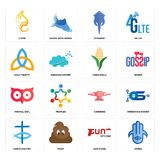 Set of hamsa, gun store, christian fish, catering, minimal owl, corn stalk, holy trinity, stingray, c fire icons. Set Of 16 simple  icons such as hamsa, gun Royalty Free Stock Images