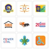 Set Of 9 simple  icons such as handicapped, medical marijuana, girl power. 20 anniversary, black panthers, lodging, 50 years lux, volleyball tournament, can be Royalty Free Stock Photos