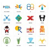 Set of hazardous waste, twister, fern, hot deals, outlaws, xfactor, badminton club, 88, pool company icons. Set Of 16 simple  icons such as hazardous waste Stock Image