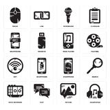 Set of Headphones, Picture, Voice recorder, Smartphone, Wifi, Music player, Microphone, Mouse icons. Set Of 16 simple  icons such as Headphones, Picture, Chat Stock Photos