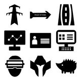 Set Of 9 simple  icons. Such as hedgehog, spartan helmet, augmented reality, on, personal details, dashboard images, peace of mind, pylon, can be used for Stock Photography