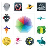 Set of heptagon, heron, qf, parlour, patel, mobile os a, travel, fishing team, skull with headphone icons. Set Of 13 simple  icons such as heptagon, heron, qf Royalty Free Stock Photo