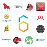 Set of hex, doctor, moose, boar, badminton, tiara, 70 years, lesbian, free icons. Set Of 13 simple  icons such as hex, doctor, moose, boar, badminton, tiara, 70 Stock Photography