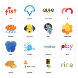 Set of, highway, potato, medical, dent, wolf, sea shell, auto shop, fist icons. Set Of 16 simple  icons such as, highway, painters, potato, play, fist, sea shell Stock Photography