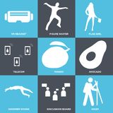 Set Of 9 simple  icons. Such as hiker, discussion board, swimmer diving, avocado, mango, telecom, flag girl, figure skater, vr headset, can be used for mobile Stock Image