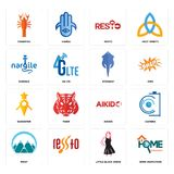Set of home inspection, little black dress, mont, aikido, guidestar, stingray, nargile, resto, crawfish icons. Set Of 16 simple  icons such as home inspection Stock Photography