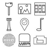 Set Of 9 simple  icons. Such as homefire, lock, pattern, golf, location pin, chess, calculator, photo, ice-cream, can be used for mobile, web UI Stock Images