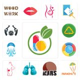 Set of homeopathy, parachute, mars, lungs, maternity, , jellyfish, recycle reuse uce, revolver icons. Set Of 13 simple  icons such as homeopathy, parachute, mars Royalty Free Stock Photography