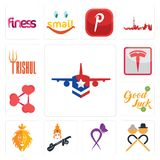Set of honor flight, senior citizen, lupus, saraswati, judah and the lion, goodluck, share png, tesla, trishul icons. Set Of 13 simple  icons such as honor Stock Photo