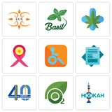 Set Of 9 simple  icons such as hookah, oxygen, 40 years. Statement, handicapped, breast cancer ribbon, medical marijuana, basil, lux, can be used for mobile Stock Image