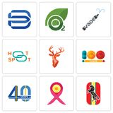 Set Of 9 simple  icons such as horse, breast cancer ribbon, 40 years. 100 year, stag head, hotspot, vape, oxygen, minimal b, can be used for mobile, web Stock Images