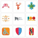 Set Of 9 simple  icons such as horse, drama, handicapped. 100 year, bike chain, lux, medical marijuana, stag head, lesbian, can be used for mobile, web Stock Photography