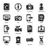 Set of Hourglass, Projector, Display, File, Smartphone, Monitor, Photo camera, Phone book icons. Set Of 16 simple  icons such as Hourglass, Projector, Mailbox Stock Image