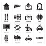 Set of Hoverboard, Car, Wi gloves, Eolic energy, Solar panel, Smartphone, Prosthesis, Eco house icons. Set Of 16 simple  icons such as Hoverboard, Car, Flying Royalty Free Stock Photos
