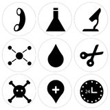 Set Of 9 simple  icons. Such as 24 hr, location pin, dead, scissors, water drop, chemical compounding, microscope, chemistry, call, can be used for mobile, web Royalty Free Stock Images