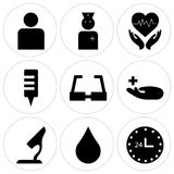 Set Of 9 simple  icons. Such as 24 hr, water drop, microscope, medical, sunglasses, blood bag, cardiogram, female doctor, people, can be used for mobile, web UI Royalty Free Stock Photography