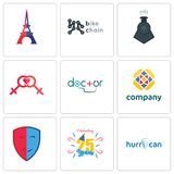 Set Of 9 simple  icons such as hurrican, celebrating 25 years, drama. Free, doctor, lesbian, locomotive, bike chain, eiffel tower, can be used for mobile, web Royalty Free Stock Image