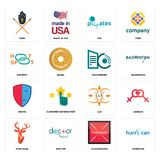 Set of hurrican, placeholder, stag head, lux, drama, datacenter, hotspot, SOZ, tribe icons. Set Of 16 simple  icons such as hurrican, placeholder, doctor, stag Royalty Free Stock Photos