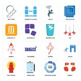 Set of inquiry, discussion board, fire hydrant, ganesh, broken glass, municipality, join us, next steps icons. Set Of 16 simple  icons such as inquiry Royalty Free Stock Photos
