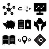 Set Of 9 simple  icons. Such as IQ, store locator, spanish language, spartan helmet, user guide, hedgehog, dashboard images, lead generation, supply chain, can Stock Images