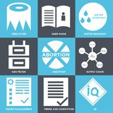 Set Of 9 simple  icons. Such as IQ, terms and conditions, order management, supply chain, abortion, gas meter, water resistant, user guide, tree stump, can be Royalty Free Stock Photography