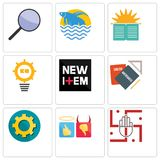 Set Of 9 simple  icons such as jain, good bad, transparent gear. Homework, new item, problem management, sunday school, betta fish, focus group, can be used Royalty Free Stock Images