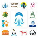 Set of jellyfish, revolver, year the dog, penguin, couch, helm, chemical company, ever tree, weed leaf icons. Set Of 13 simple  icons such as jellyfish, revolver Royalty Free Stock Photography