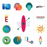 Set of kayak, gender equality, cash on delivery, swift, hunger, d-star, aquarius, orthodontist, e crown icons. Set Of 13 simple  icons such as kayak, gender Stock Photos
