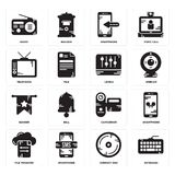 Set of Keyboard, Compact disc, File transfer, Camcorder, Banner, Levels, Television, Smartphone, Radio icons. Set Of 16 simple  icons such as Keyboard, Compact Royalty Free Stock Photos