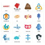 Set of king kong, christian fish, 4g lte, minimal owl, construction, , arm wrestling, poop, aikido icons. Set Of 16 simple  icons such as king kong, christian Royalty Free Stock Photography