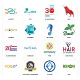 Set of kiwi, 3 letter, , free, 20 anniversary, sea horse, churros, 30 hotspot icons. Set Of 16 simple  icons such as kiwi, 3 letter, volleyball tournament Royalty Free Stock Photo