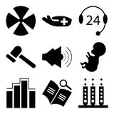 Set Of 9 simple  icons. Such as laboratory, book, diagnostics, baby, medical news, medical, 24 support, medical, medical, can be used for mobile, web UI Stock Photography