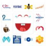 Set of laugh, honeycomb, disk, greek, angel wing, m, cafeteria, rowing, question icons. Set Of 13 simple  icons such as laugh, honeycomb, disk, greek, angel wing Royalty Free Stock Photo