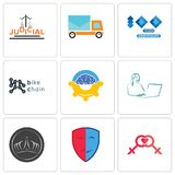 Set Of 9 simple  icons such as lesbian, drama, tiara. Secretary, program management, bike chain, 100 year anniversary, post car, judicial, can be used for Stock Images