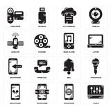 Set of Levels, Smartphone, Bell, Music player, Satellite, File transfer, Camcorder icons. Set Of 16 simple  icons such as Levels, Smartphone, Microphone Royalty Free Stock Photography
