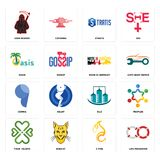 Set of life preserver, c fire, four  hearts, silo, comma, made in germany, oasis, stratis, grim reaper icons. Set Of 16 simple  icons such as life preserver, c Royalty Free Stock Photos