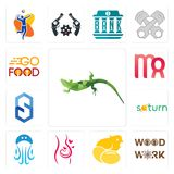 Set of lizard, woodwork, chick, pregnancy, jellyfish, saturn, s hexagon, virgo, go food icons. Set Of 13 simple  icons such as lizard, woodwork, chick, pregnancy Royalty Free Stock Image
