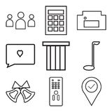 Set Of 9 simple  icons. Such as location pin, remote controller, ring bell, golf, bag, love comment, homefire, calculator, community, can be used for mobile Royalty Free Stock Image