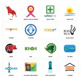 Set of lodging, girls bathroom, hookah, rhino, boar, , towing, safety first, bull icons. Set Of 16 simple  icons such as lodging, girls bathroom, 50 years Royalty Free Stock Photography