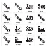 Set of Lumberjack, Miner, Teacher, Spaceman, Politician, Priest, Electrician, Chauffeur, Programmer icons. Set Of 16 simple  icons such as Lumberjack, Miner Stock Photo