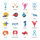 Set of lung cancer, savage, lion paw, all in one, star plus, , lawn mower, culture club, seaman icons. Set Of 16 simple  icons such as lung cancer, savage, food Royalty Free Stock Image